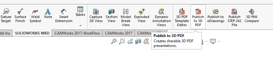 Povezava SOLIDWORKS MBD-a z CAMWorks in SOLIDWORKS CAM TBM